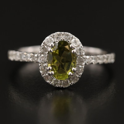 Sterling Silver Peridot Ring with Diamond Halo