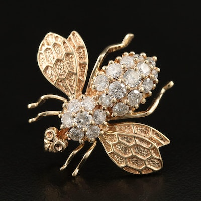 14K 1.25 CTW Diamond Bee Converter Brooch