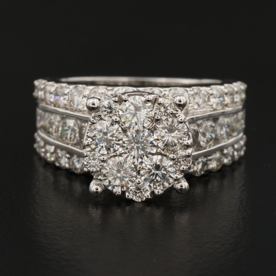 14K 3.06 CTW Diamond Cluster Ring
