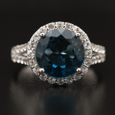 Sterling Round Faceted Topaz and Sapphire Ring