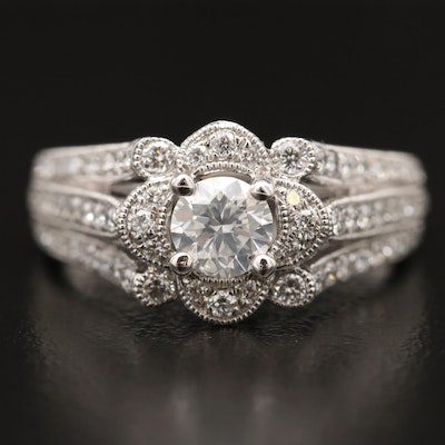 Platinum Split Shank 1.54 CTW Diamond Ring with Milgrain Detail