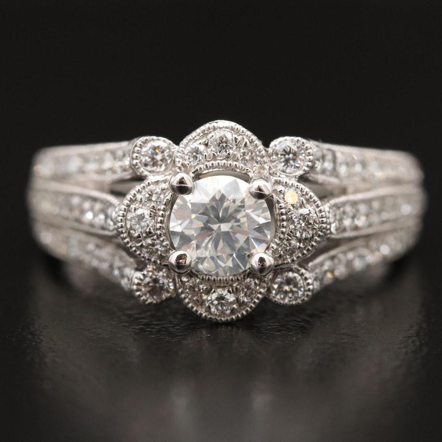 Platinum Split Shank 1.54 CTW Diamond Ring with Milgrain Detail