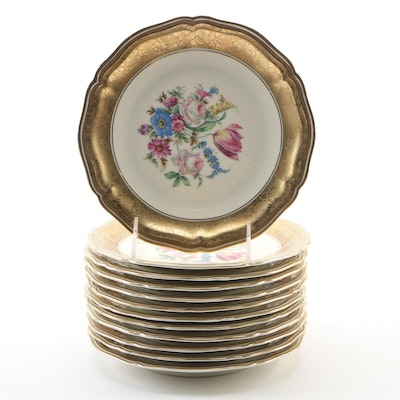 """Rosenthal """"Chippendale"""" Floral and Gilt Porcelain Dessert Plates, Mid-20th C."""