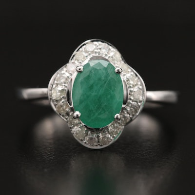 14K Emerald and Diamond Quatrefoil Ring