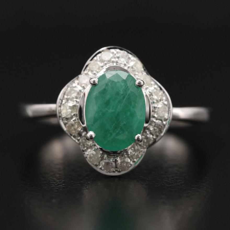 14K Emerald and Diamond Quatrefoil Ring