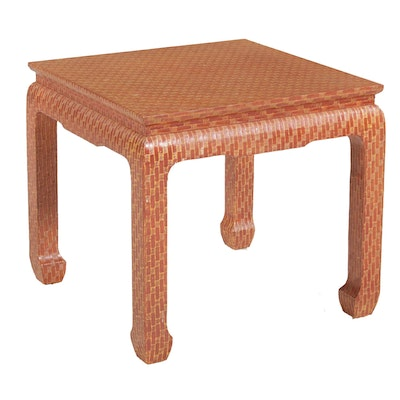Baker Chinese Style Center Table with Woven Fabric Finish, 21st Century
