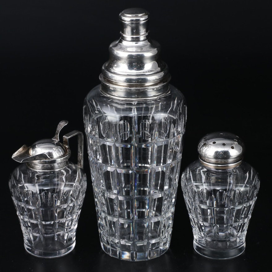 "Hawkes ""Vernay"" Crystal and Sterling Silver Cocktail Shaker, Creamer and Caster"