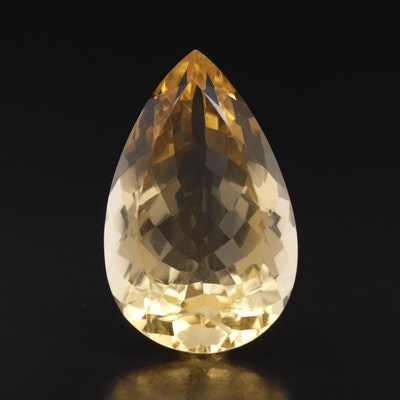 Loose 41.66 CT Pear Faceted Citrine