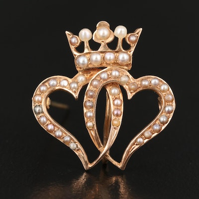 Victorian 14K Seed Pearl Interlocking Hearts with Crown Brooch with Watch Clip