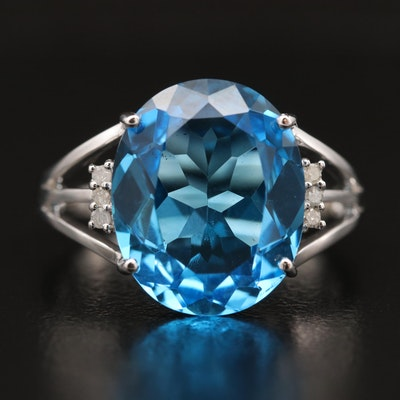 14K Blue Topaz Ring with Diamond Accents