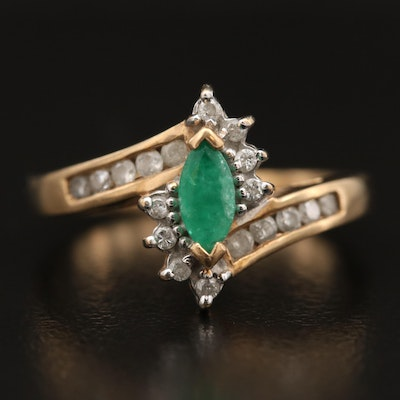 10K Emerald and Diamond Navette Ring