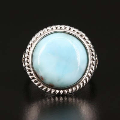 Sterling Silver Larimar and Topaz Ring