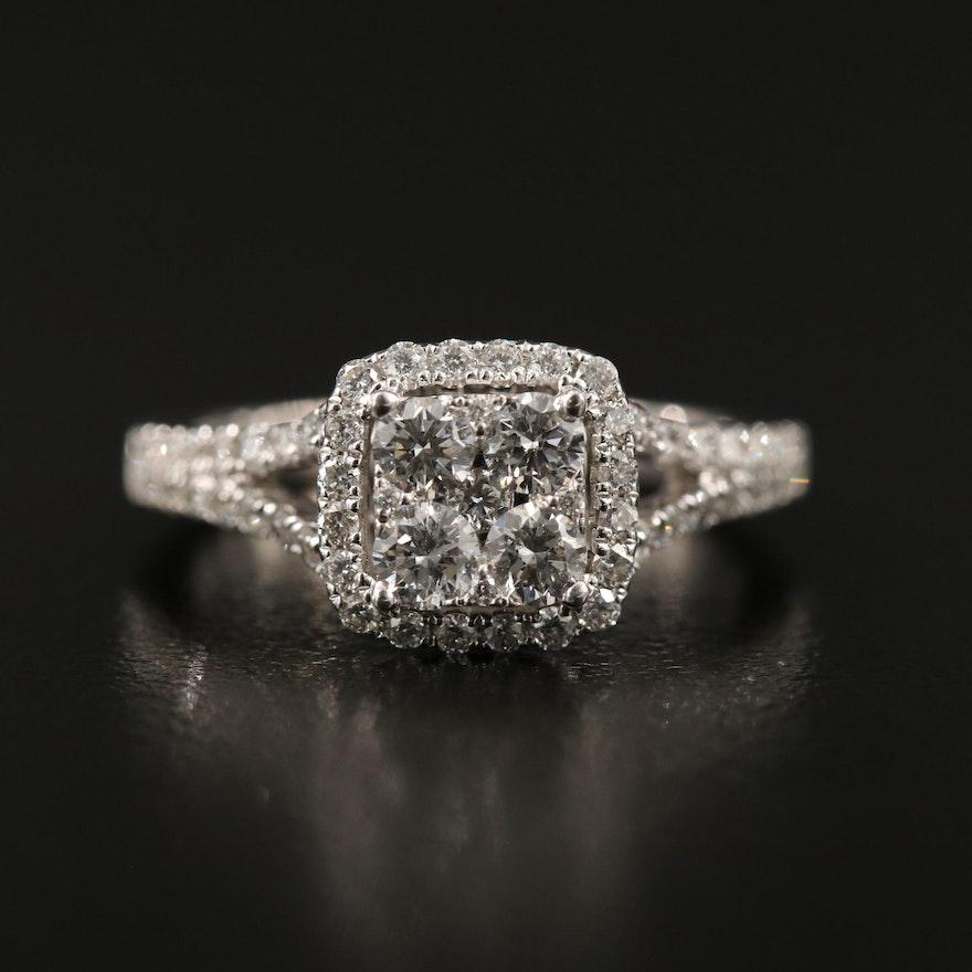 14K 1.00 CTW Diamond Halo Ring with Split Shank