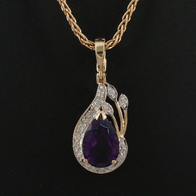 14K Amethyst and Diamond Enhancer Style Pendant Necklace