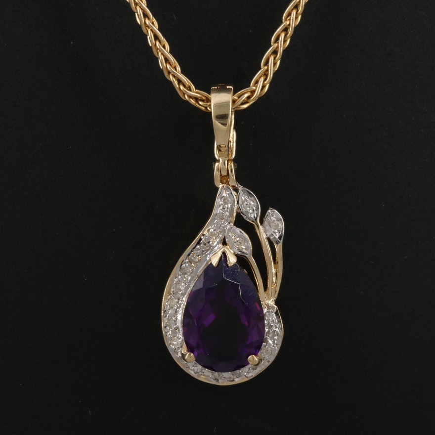 14K Amethyst and Diamond Enhancer Style Pendant Necklace