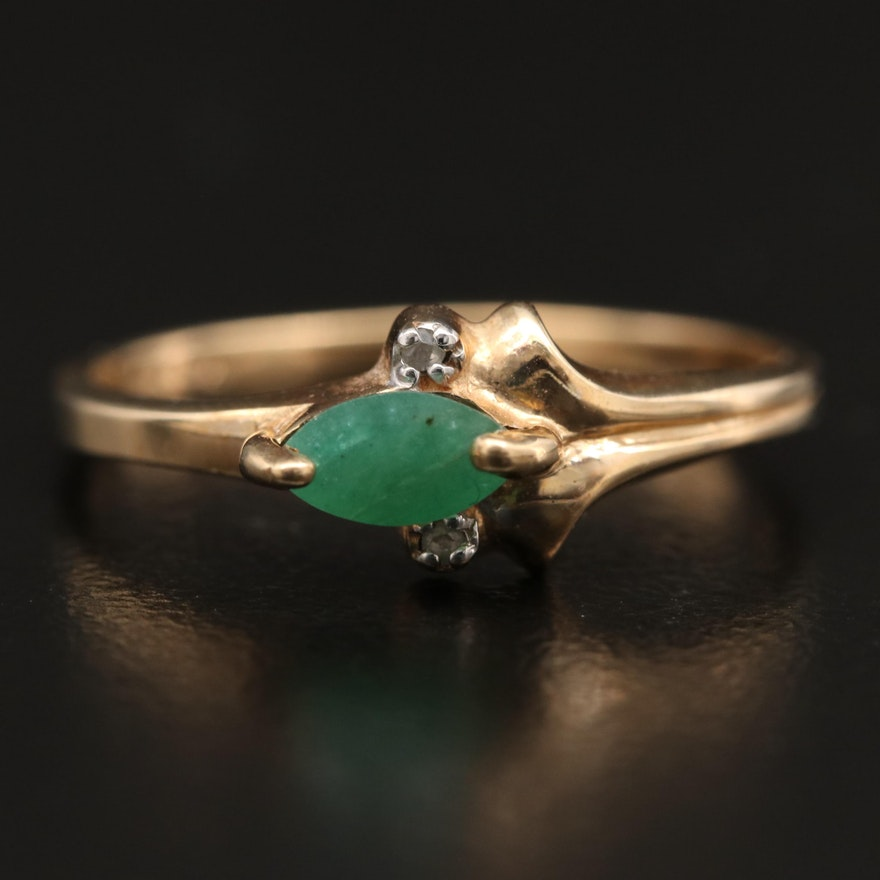 10K Emerald and Diamond Ring