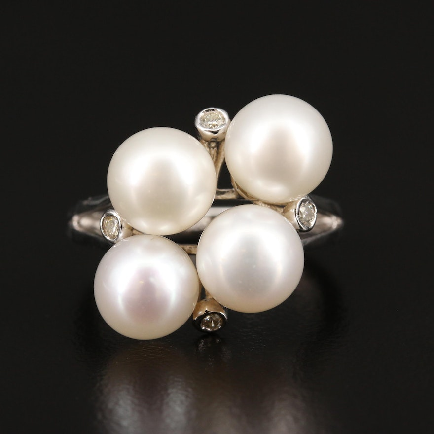 Sterling Silver Pearl and Diamond Cluster Ring