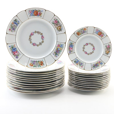 Rosenthal Floral Porcelain Dinner and Dessert Plates, Mid-20th Century