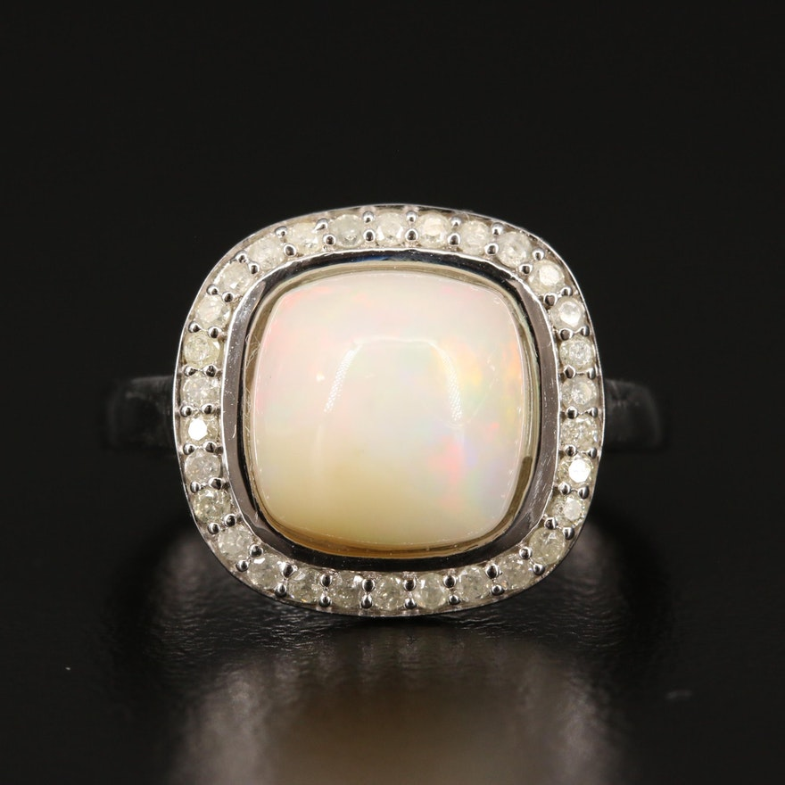 Sterling Silver Opal and Diamond Halo Ring