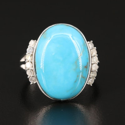 Sterling Silver Turquoise and Diamond Ring with Split Shoulders
