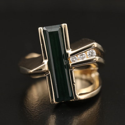 Contemporary 14K Tourmaline and Diamond Ring with Euro Shank