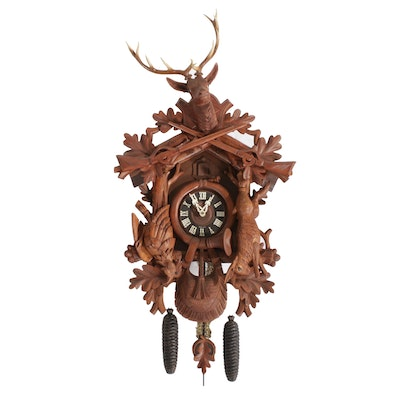 "August Schwer ""Hunter Design"" Black Forest Cuckoo Clock"