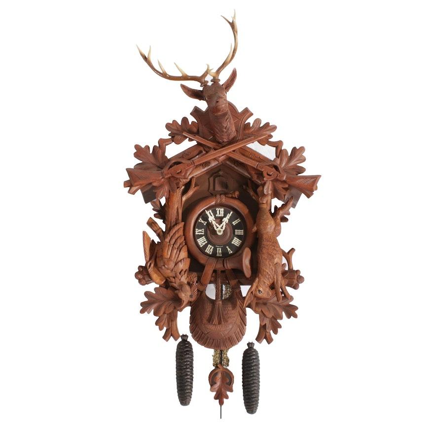 """August Schwer """"Hunter Design"""" Black Forest Cuckoo Clock"""