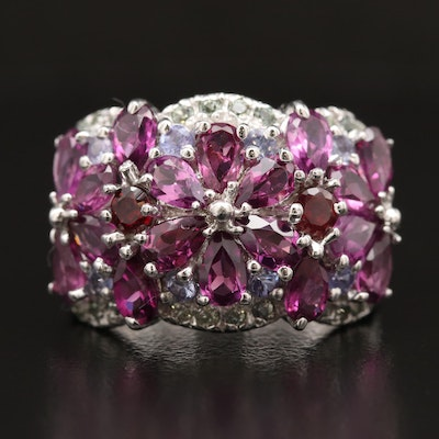 Sterling Silver Garnet, Sapphire and Tanzanite Domed Cluster Ring