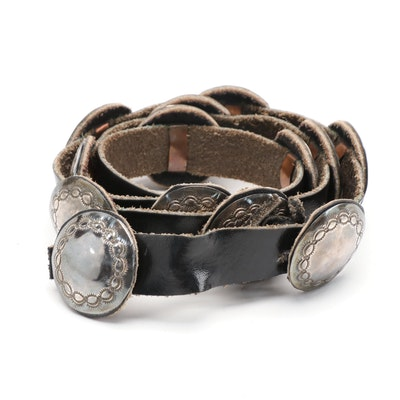 Sterling Silver Southwestern Concho Black Leather Belt