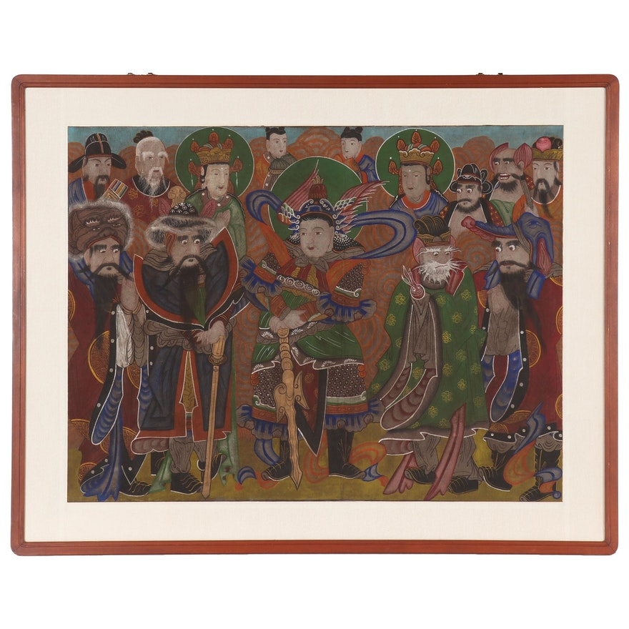 Korean Sinjung Taenghwa Style Gouache Painting, Late 20th Century