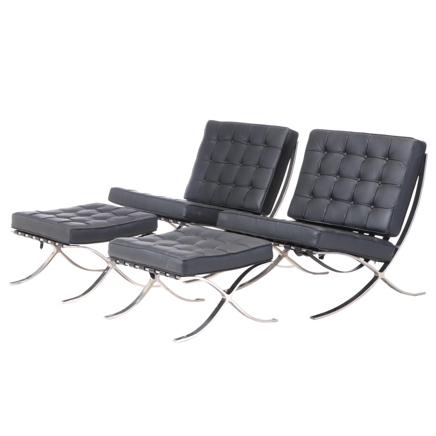 Pair of Barcelona Style Black Bonded Leather Lounge Chairs with Ottomans