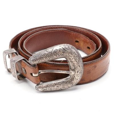 Signed Sterling Silver Southwestern Buckle Set on Alexander's Ostrich Skin Belt