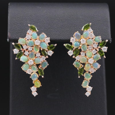 Sterling Silver Opal, Diopside and Cubic Zirconia Floral Earrings