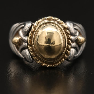 Jonah Grossbardt Sterling Silver Domed Ring with 18K Accents