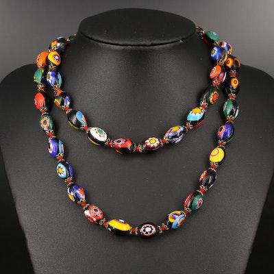 Vintage Millefiori Glass Beaded Necklace
