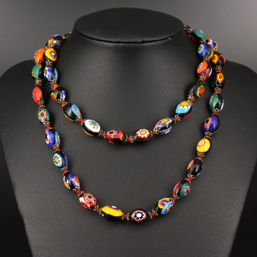 Vintage Millefiori Glass Beaded Necklace