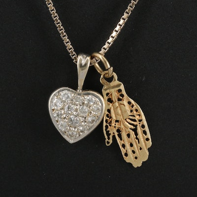 14K Diamond Heart and Hamsa Pendants on 18K Box Chain Necklace