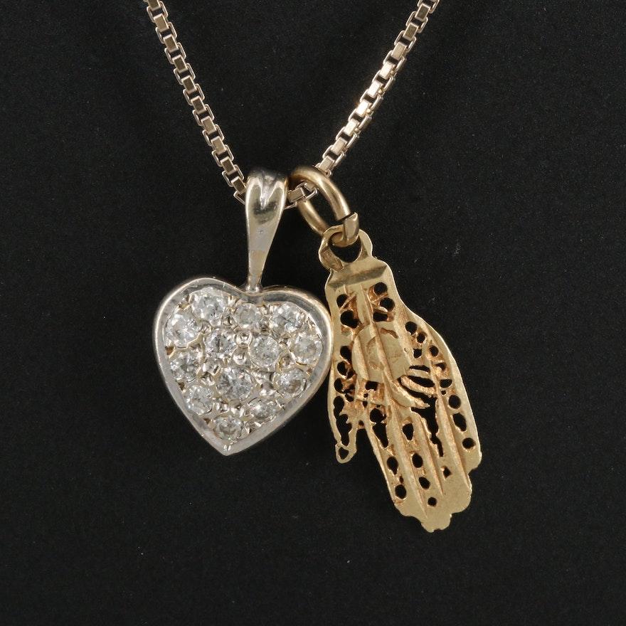 14K Diamond Heart and Hamsa Pendants on 18K Box Chain Necklace