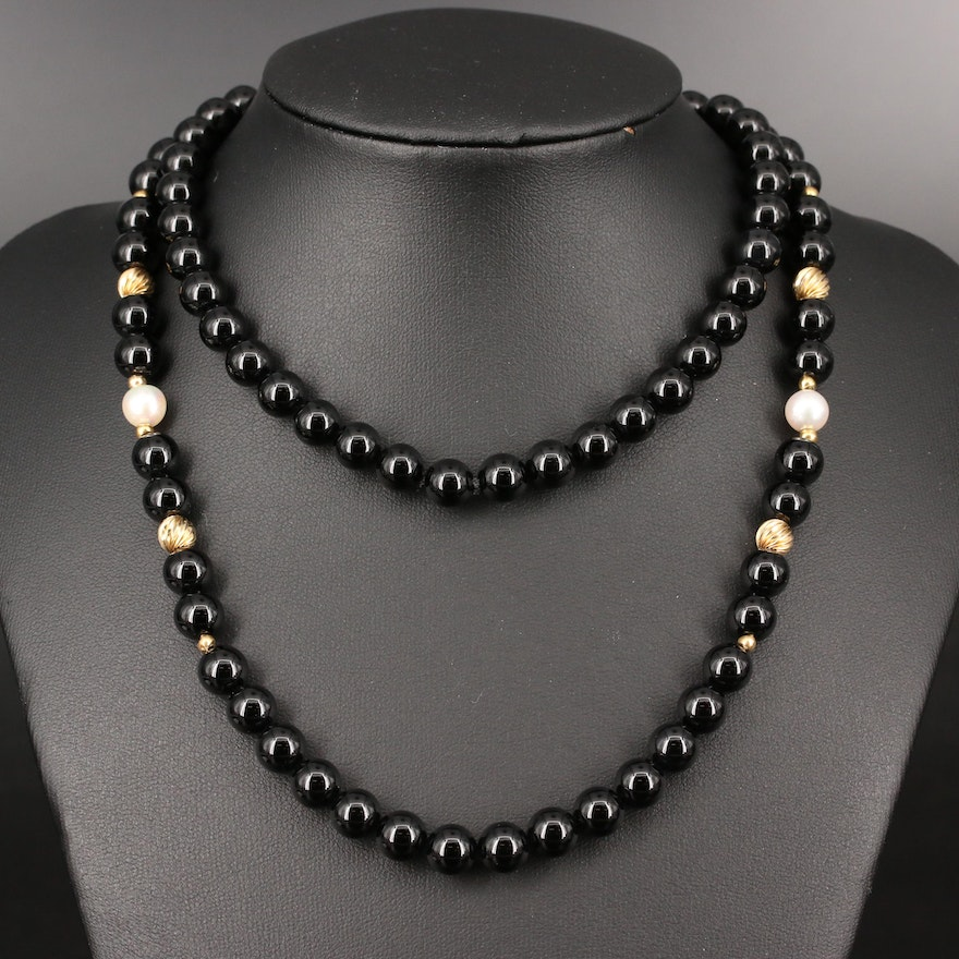Black Onyx and Pearl Beaded Endless Necklace with 14K and Gemstone Accents