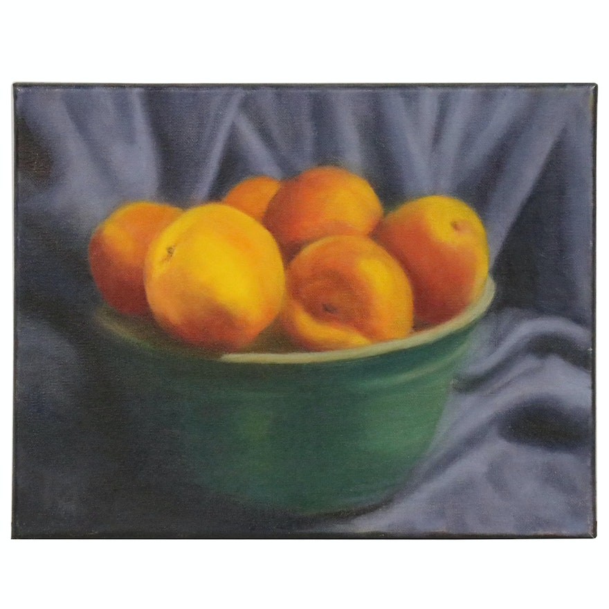 "Rita Rozzi Oil Painting ""Peaches and Fabric Still Life,"" 21st Century"