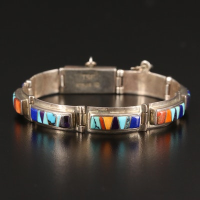 Touch of Santa Fe Sterling Turquoise, Lapis Lazuli and Spiny Oyster Bracelet