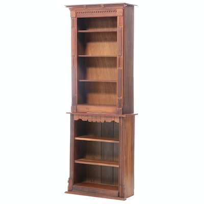 Victorian Style Walnut and Mixed Wood Bookcase