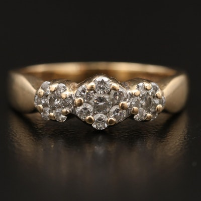 14K Triple Cluster Diamond Ring