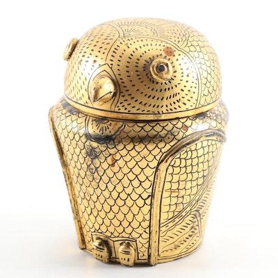 Burmese Gold Lacquerware Owl Form Box