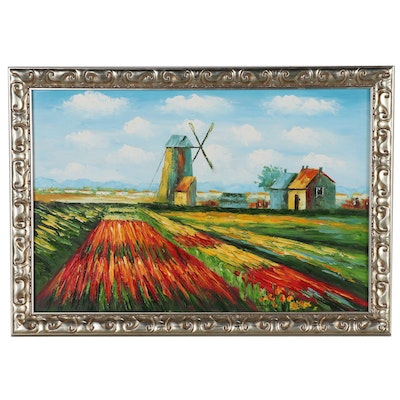 Landscape Acrylic Painting of Dutch Flower Fields with Windmill