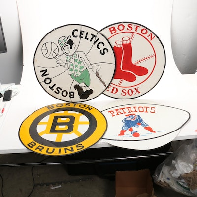 Handmade Bruins, Celtics, Patriots, and Red Sox Signage