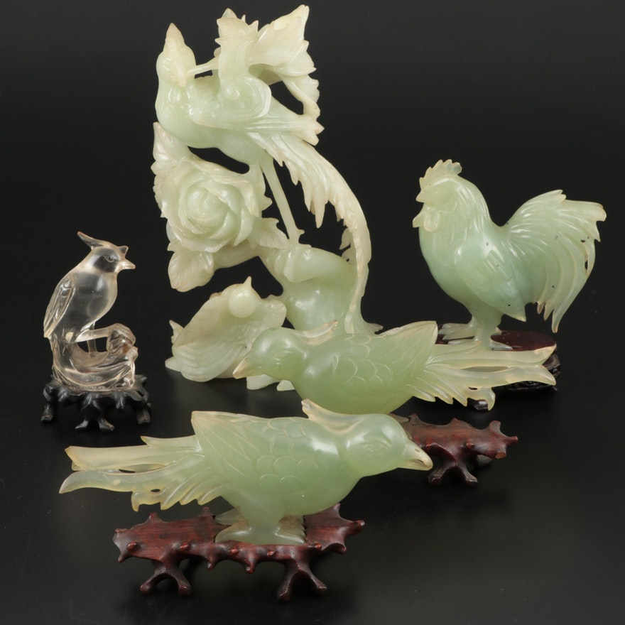Chinese Carved Bowenite and Rock Crystal Quartz Birds