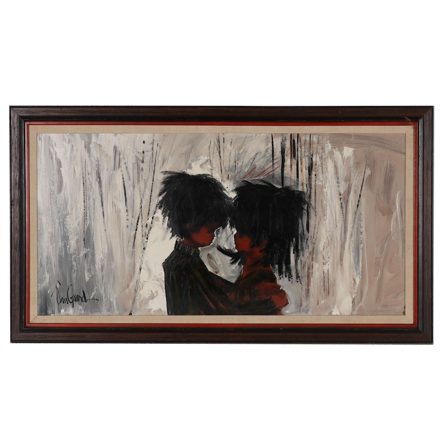 VanGuard Studios Figure Oil Painting of Young Couple, Mid 20th Century