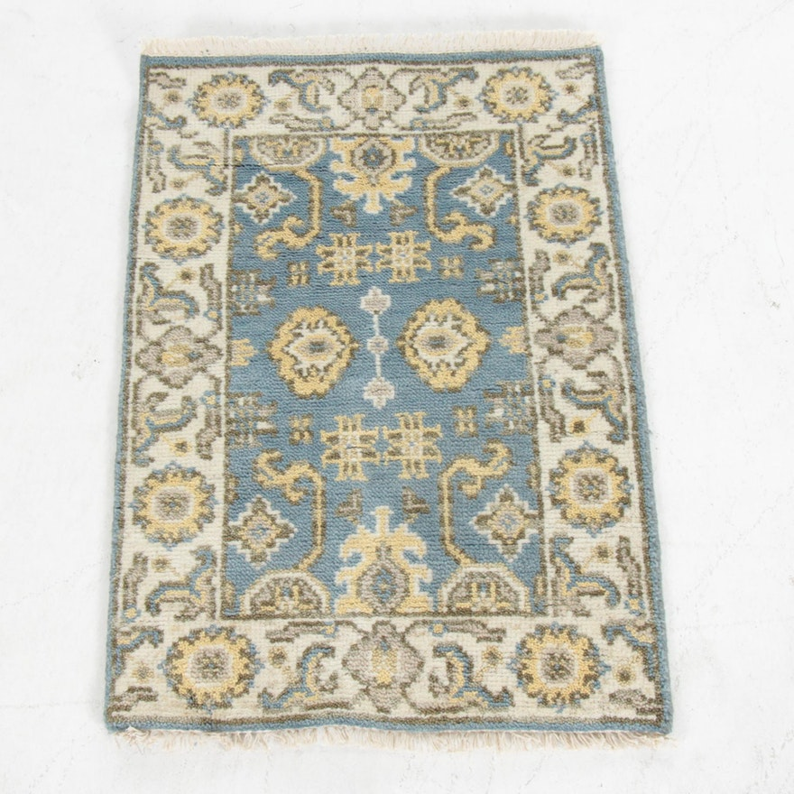 2'1 x 3'1 Hand-Knotted Indo-Turkish Oushak Rug, 2010s