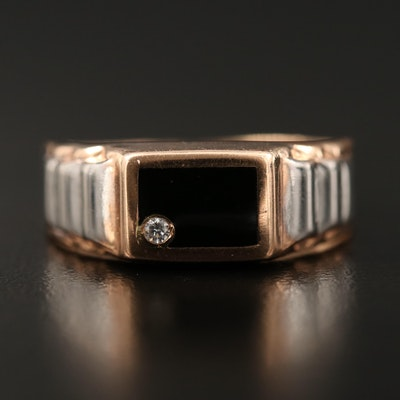 14K Cubic Zirconia and Enamel Inlay Band